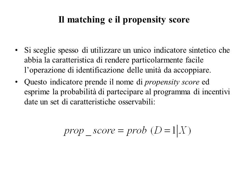 Il matching e il propensity score Si sceglie spesso di utilizzare un unico indicatore sintetico che abbia la caratteristica di rendere particolarmente facile l'operazione di identificazione delle unità da accoppiare.