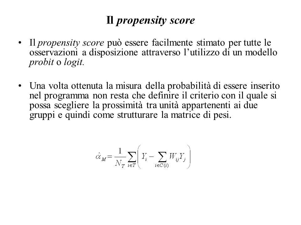 Il propensity score Il propensity score può essere facilmente stimato per tutte le osservazioni a disposizione attraverso l'utilizzo di un modello probit o logit.