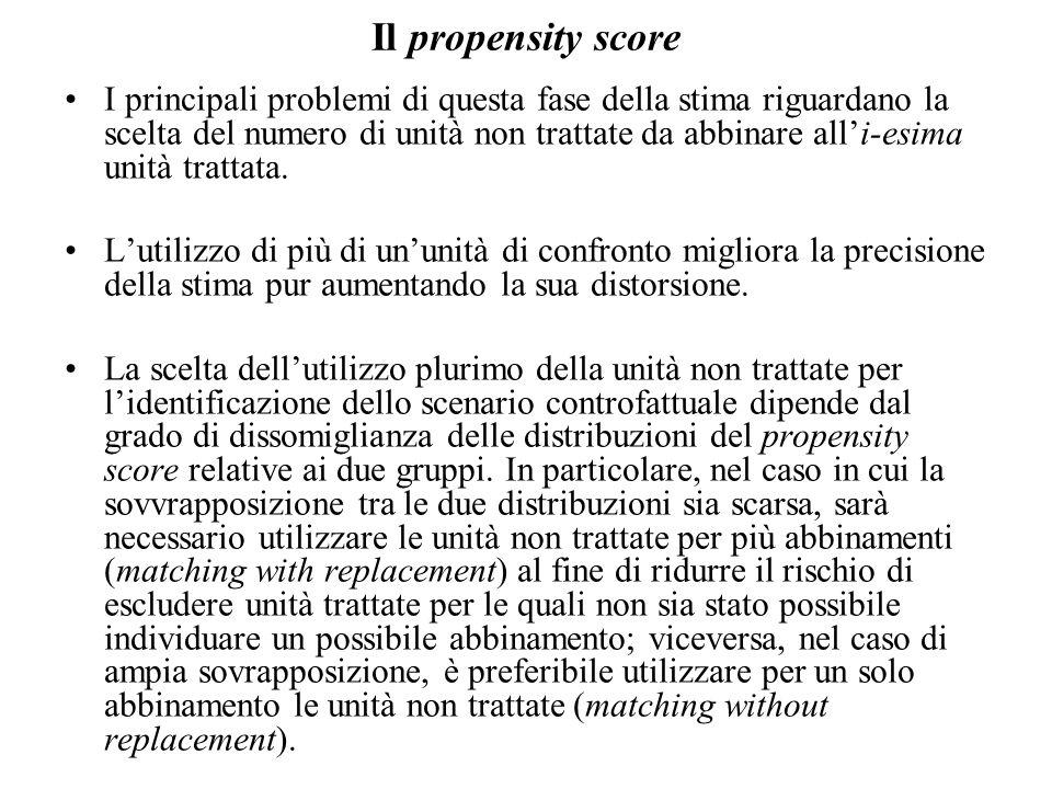 Il propensity score I principali problemi di questa fase della stima riguardano la scelta del numero di unità non trattate da abbinare all'i-esima unità trattata.