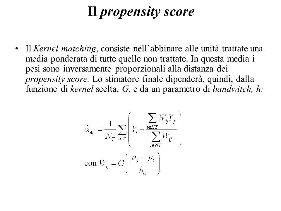 Il propensity score Il Kernel matching, consiste nell'abbinare alle unità trattate una media ponderata di tutte quelle non trattate.