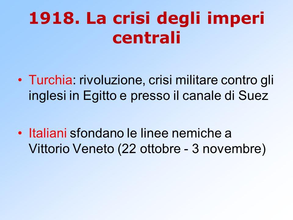 1918. La crisi degli imperi centrali Turchia: rivoluzione, crisi militare contro gli inglesi in Egitto e presso il canale di Suez Italiani sfondano le