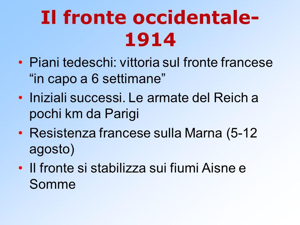 """Il fronte occidentale- 1914 Piani tedeschi: vittoria sul fronte francese """"in capo a 6 settimane"""" Iniziali successi. Le armate del Reich a pochi km da"""