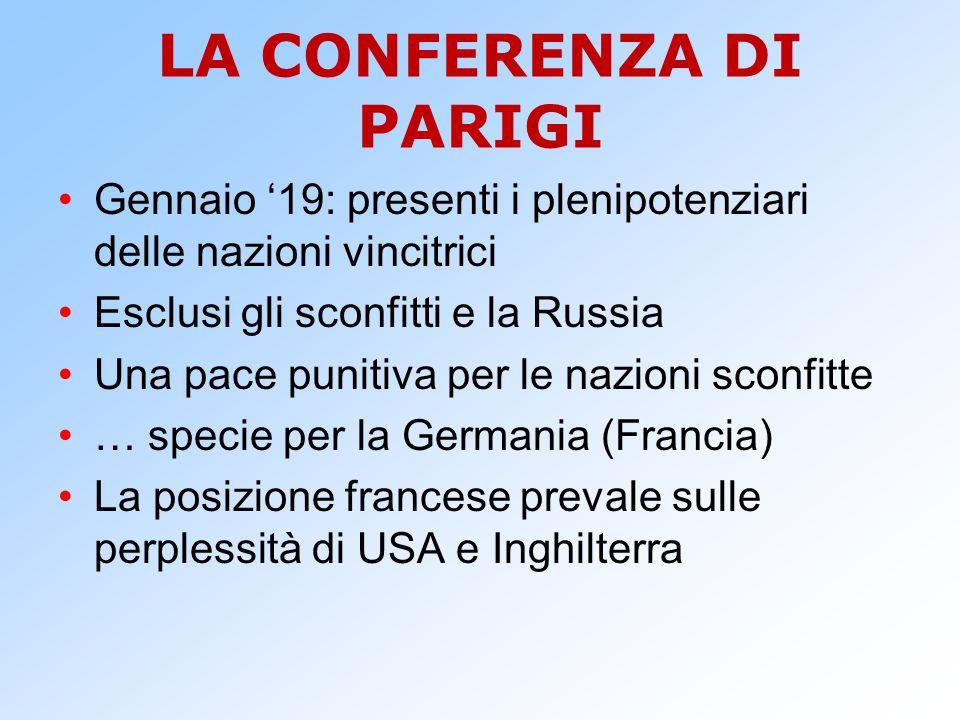 LA CONFERENZA DI PARIGI Gennaio '19: presenti i plenipotenziari delle nazioni vincitrici Esclusi gli sconfitti e la Russia Una pace punitiva per le na