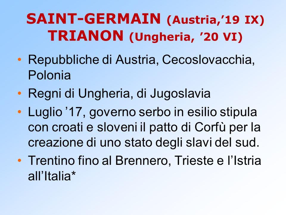 SAINT-GERMAIN (Austria,'19 IX) TRIANON (Ungheria, '20 VI) Repubbliche di Austria, Cecoslovacchia, Polonia Regni di Ungheria, di Jugoslavia Luglio '17,