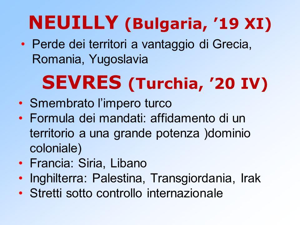 NEUILLY (Bulgaria, '19 XI) Perde dei territori a vantaggio di Grecia, Romania, Yugoslavia SEVRES (Turchia, '20 IV) Smembrato l'impero turco Formula de