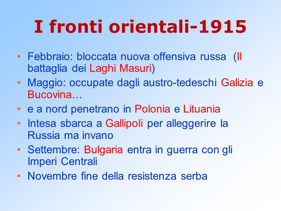 I fronti orientali-1915 Febbraio: bloccata nuova offensiva russa (II battaglia dei Laghi Masuri) Maggio: occupate dagli austro-tedeschi Galizia e Buco