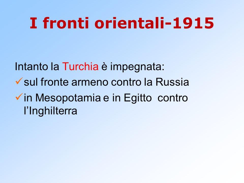 I fronti orientali-1915 Intanto la Turchia è impegnata: sul fronte armeno contro la Russia in Mesopotamia e in Egitto contro l'Inghilterra