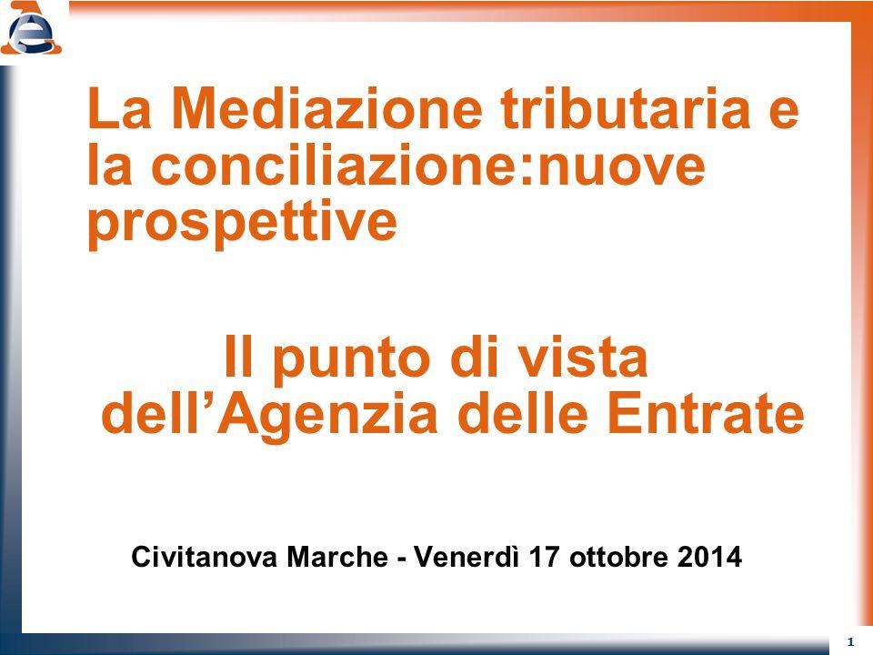 1 La Mediazione tributaria e la conciliazione:nuove prospettive Il punto di vista dell'Agenzia delle Entrate Civitanova Marche - Venerdì 17 ottobre 20