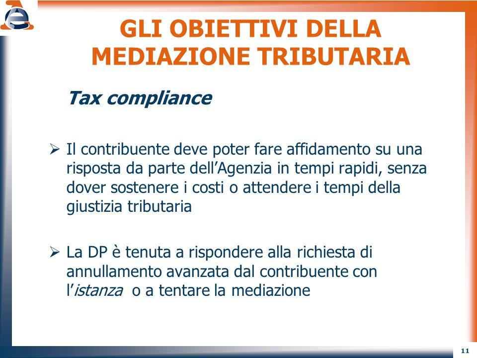 11 GLI OBIETTIVI DELLA MEDIAZIONE TRIBUTARIA Tax compliance  Il contribuente deve poter fare affidamento su una risposta da parte dell'Agenzia in tem