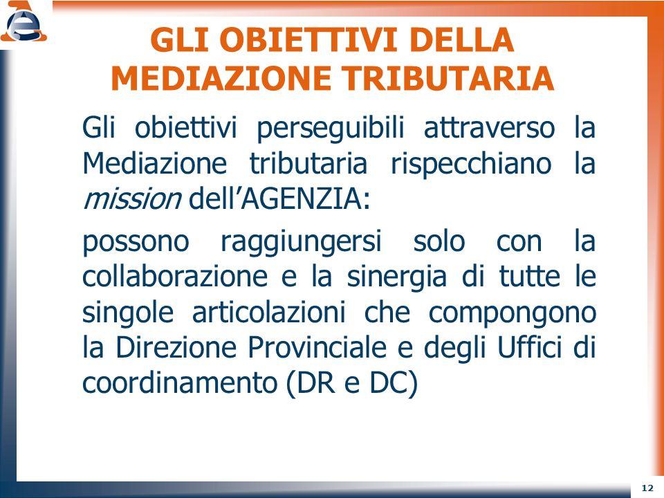 12 GLI OBIETTIVI DELLA MEDIAZIONE TRIBUTARIA Gli obiettivi perseguibili attraverso la Mediazione tributaria rispecchiano la mission dell'AGENZIA: poss