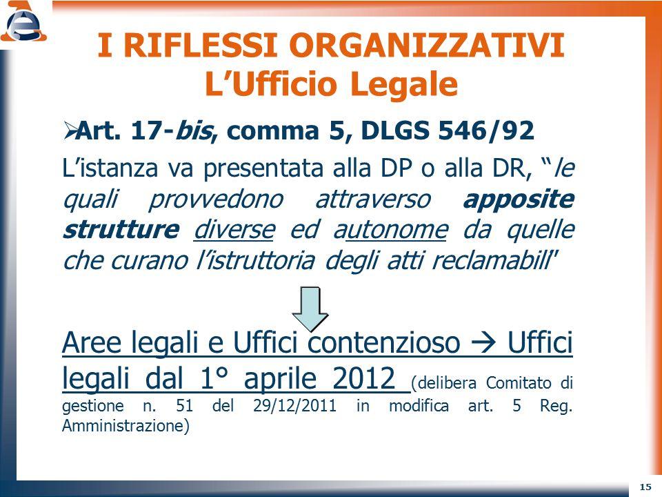"""15 I RIFLESSI ORGANIZZATIVI L'Ufficio Legale  Art. 17-bis, comma 5, DLGS 546/92 L'istanza va presentata alla DP o alla DR, """"le quali provvedono attra"""