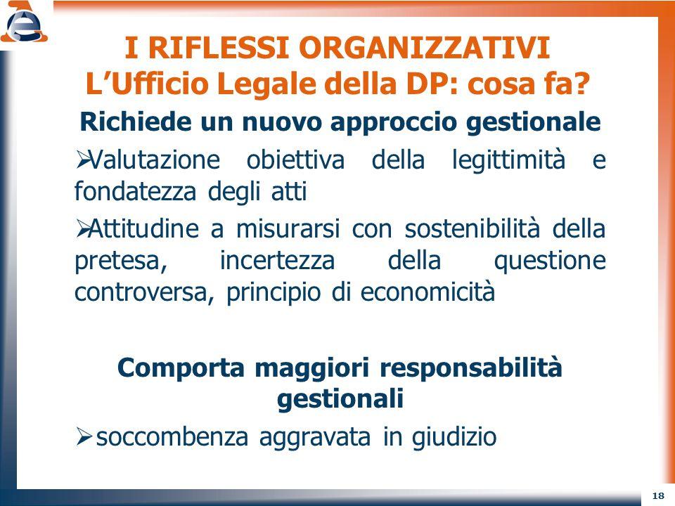 18 I RIFLESSI ORGANIZZATIVI L'Ufficio Legale della DP: cosa fa? Richiede un nuovo approccio gestionale  Valutazione obiettiva della legittimità e fon