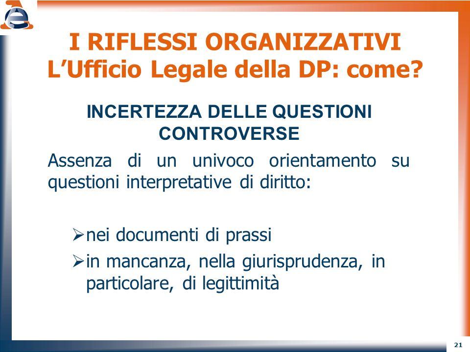 21 I RIFLESSI ORGANIZZATIVI L'Ufficio Legale della DP: come? INCERTEZZA DELLE QUESTIONI CONTROVERSE Assenza di un univoco orientamento su questioni in