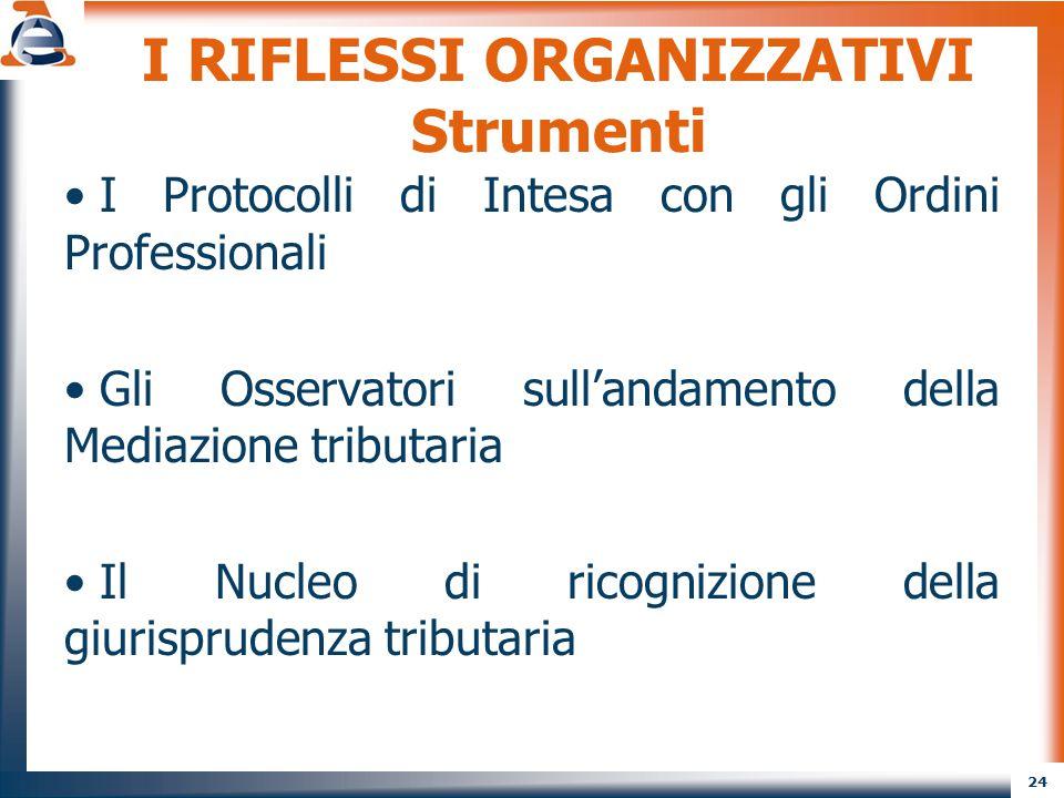 24 I RIFLESSI ORGANIZZATIVI Strumenti I Protocolli di Intesa con gli Ordini Professionali Gli Osservatori sull'andamento della Mediazione tributaria I