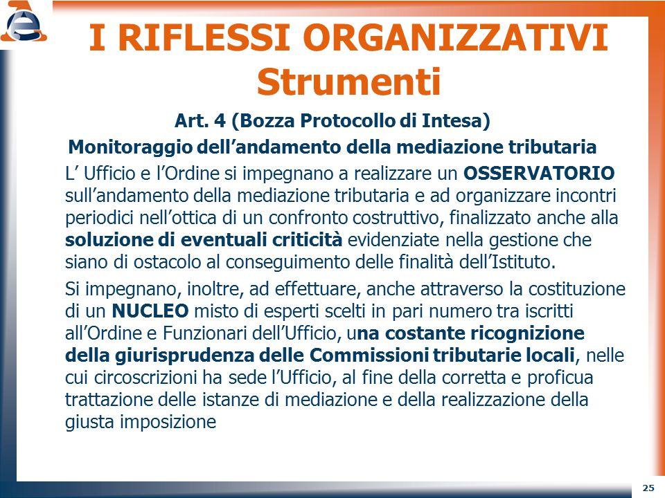 25 I RIFLESSI ORGANIZZATIVI Strumenti Art. 4 (Bozza Protocollo di Intesa) Monitoraggio dell'andamento della mediazione tributaria L' Ufficio e l'Ordin