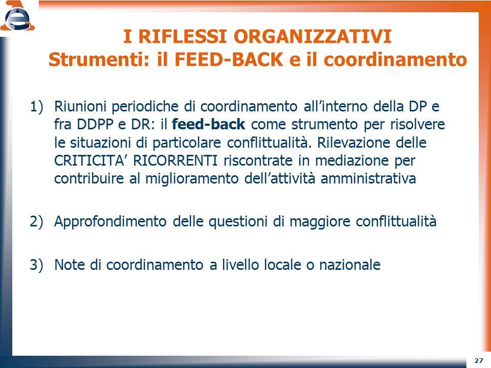 27 I RIFLESSI ORGANIZZATIVI Strumenti: il FEED-BACK e il coordinamento 1)Riunioni periodiche di coordinamento all'interno della DP e fra DDPP e DR: il