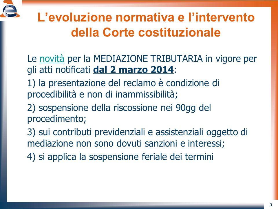 3 L'evoluzione normativa e l'intervento della Corte costituzionale Le novità per la MEDIAZIONE TRIBUTARIA in vigore per gli atti notificati dal 2 marz