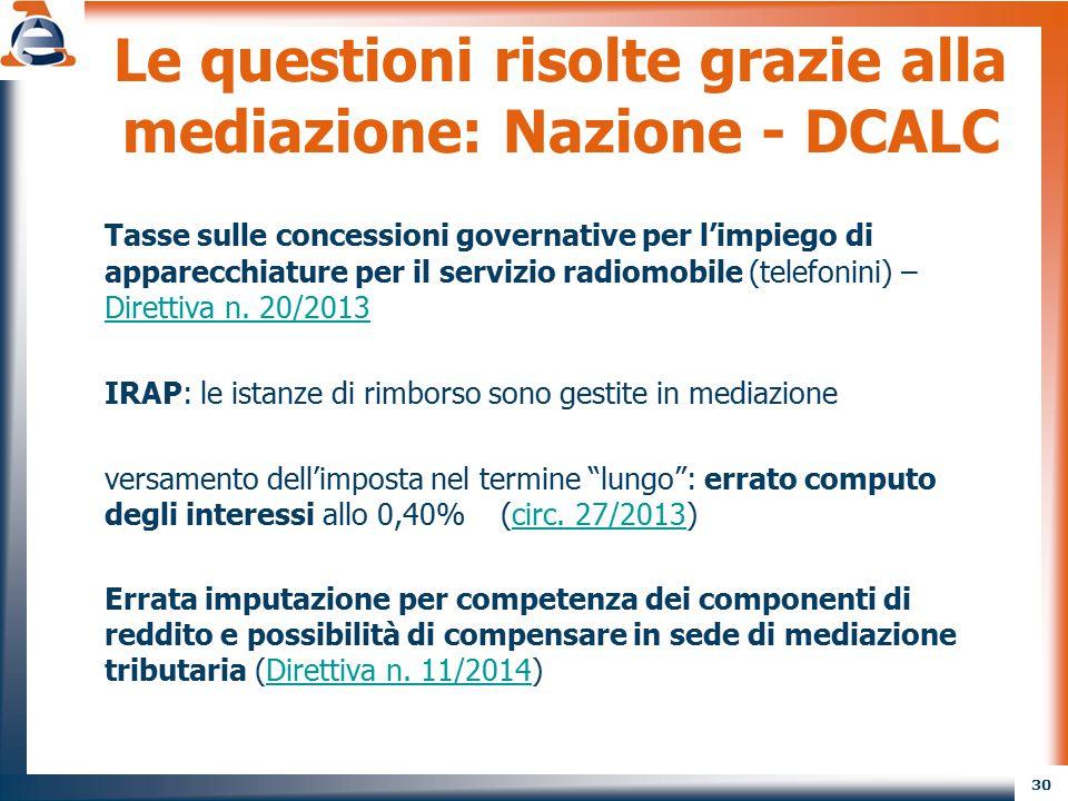 30 Le questioni risolte grazie alla mediazione: Nazione - DCALC Tasse sulle concessioni governative per l'impiego di apparecchiature per il servizio r