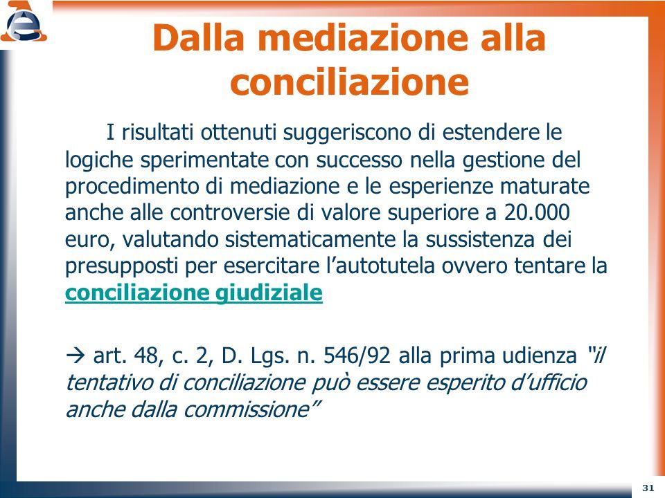 31 Dalla mediazione alla conciliazione I risultati ottenuti suggeriscono di estendere le logiche sperimentate con successo nella gestione del procedim