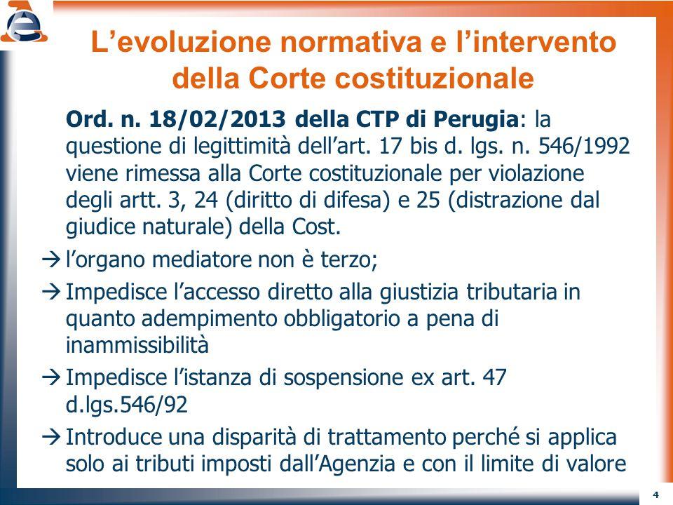4 L'evoluzione normativa e l'intervento della Corte costituzionale Ord. n. 18/02/2013 della CTP di Perugia: la questione di legittimità dell'art. 17 b