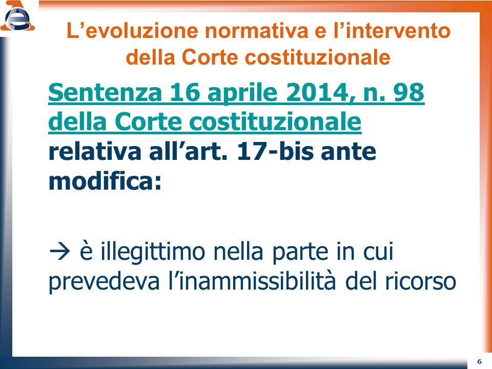 6 L'evoluzione normativa e l'intervento della Corte costituzionale Sentenza 16 aprile 2014, n. 98 della Corte costituzionale Sentenza 16 aprile 2014,