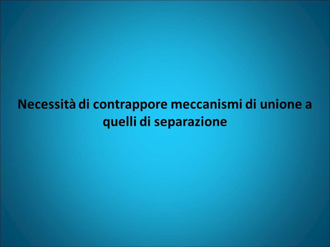Necessità di contrappore meccanismi di unione a quelli di separazione