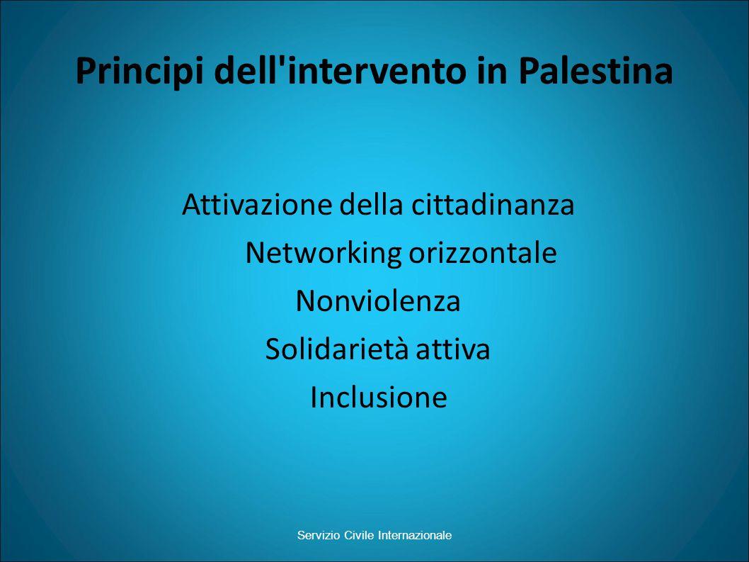 Principi dell intervento in Palestina Attivazione della cittadinanza Networking orizzontale Nonviolenza Solidarietà attiva Inclusione Servizio Civile Internazionale