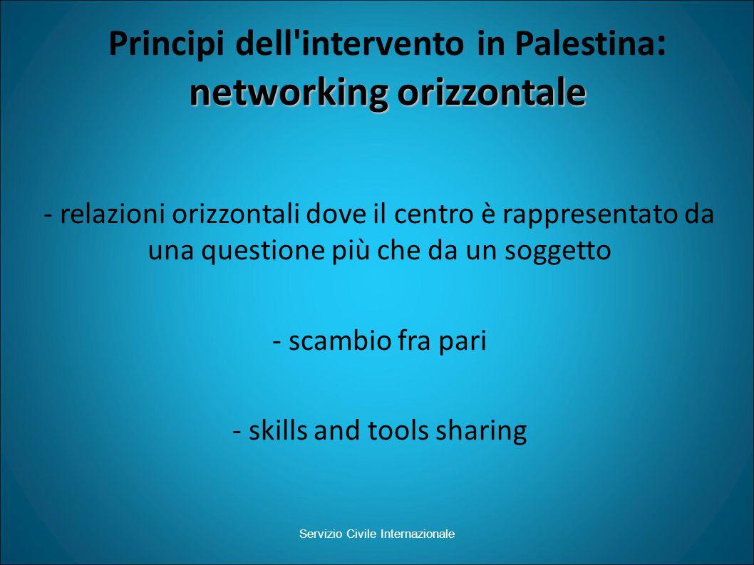 networking orizzontale Principi dell intervento in Palestina : networking orizzontale Servizio Civile Internazionale - relazioni orizzontali dove il centro è rappresentato da una questione più che da un soggetto - scambio fra pari - skills and tools sharing
