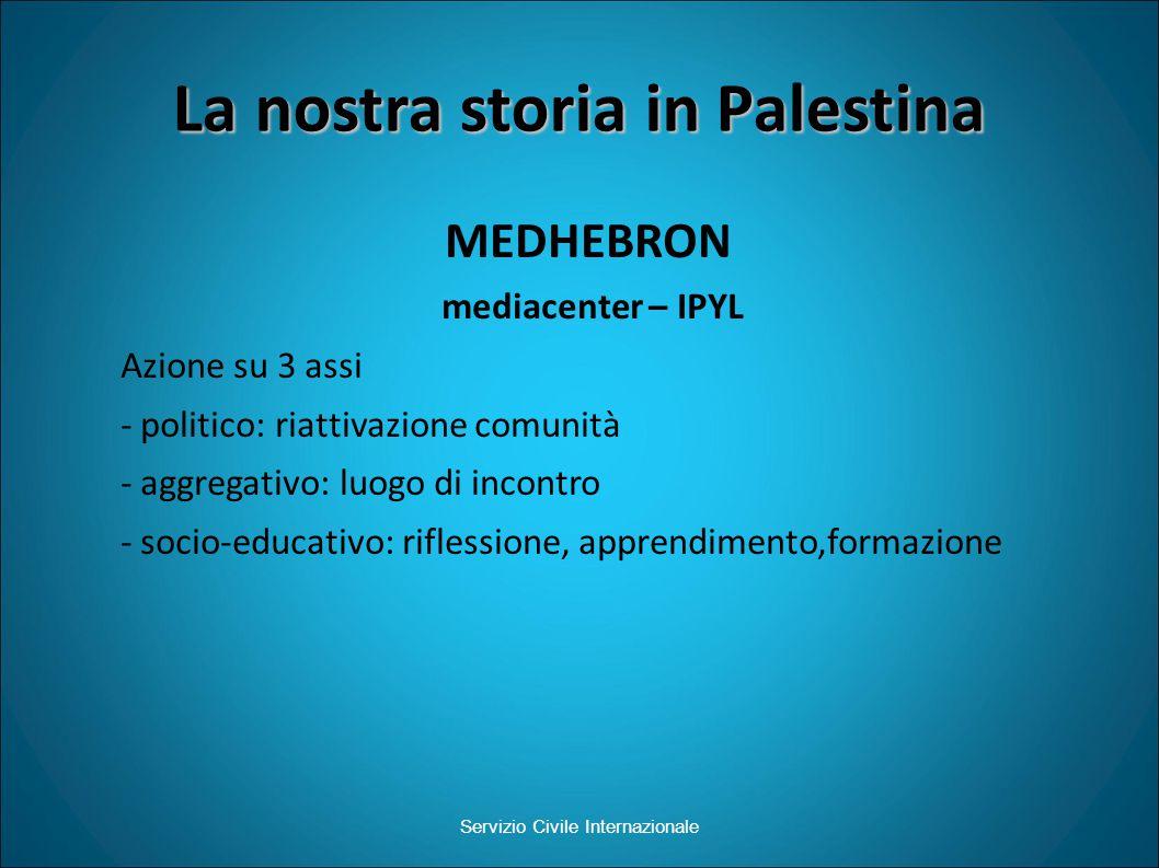 La nostra storia in Palestina MEDHEBRON mediacenter – IPYL Azione su 3 assi - politico: riattivazione comunità - aggregativo: luogo di incontro - socio-educativo: riflessione, apprendimento,formazione Servizio Civile Internazionale