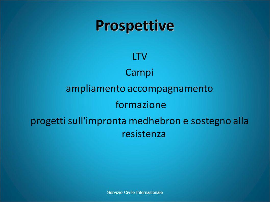 Prospettive LTV Campi ampliamento accompagnamento formazione progetti sull impronta medhebron e sostegno alla resistenza Servizio Civile Internazionale