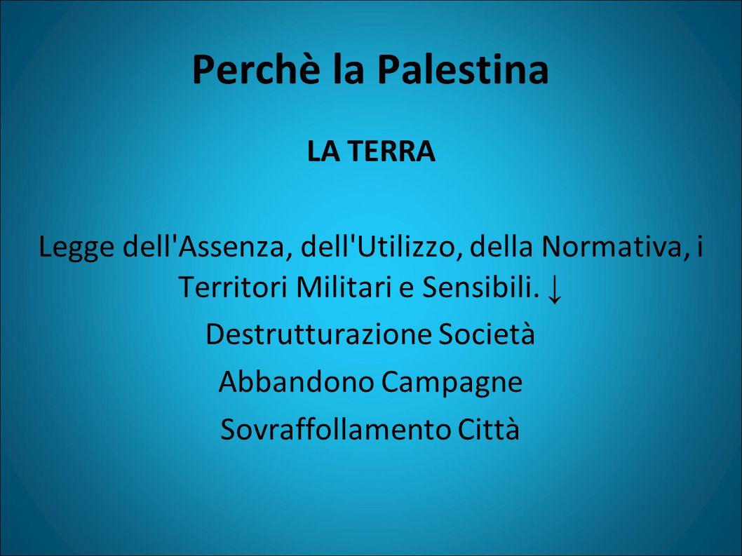 Perchè la Palestina LA TERRA Legge dell Assenza, dell Utilizzo, della Normativa, i Territori Militari e Sensibili.