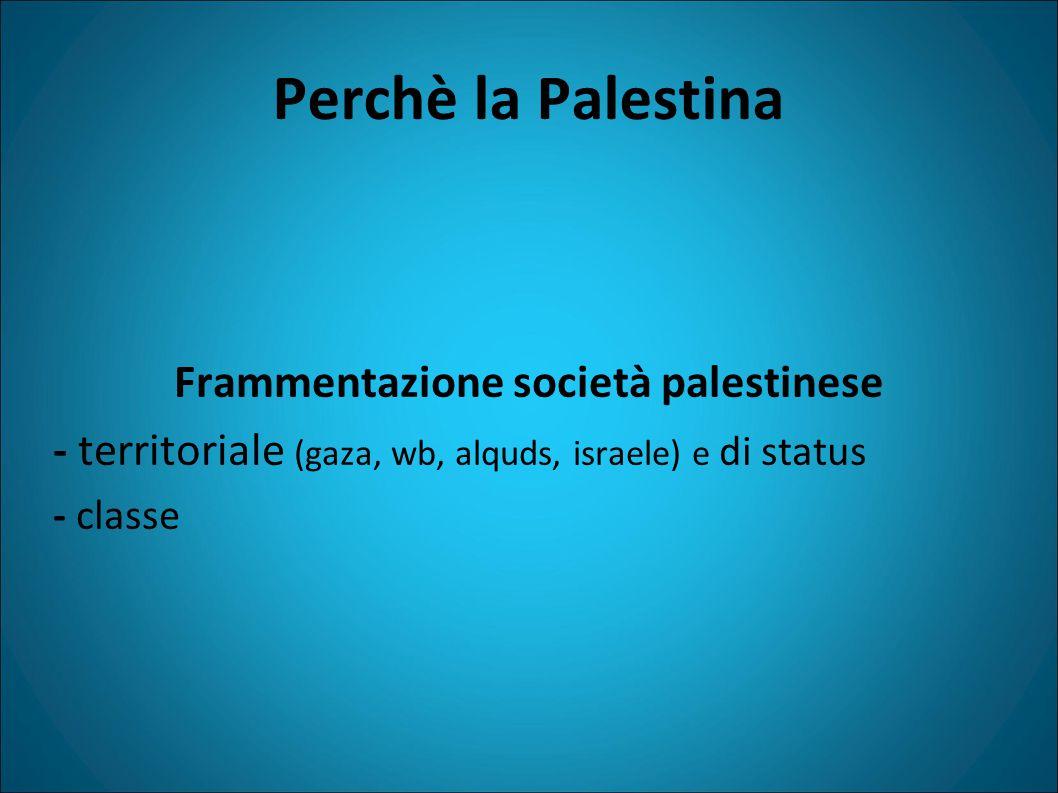Perchè la Palestina Frammentazione società palestinese - territoriale (gaza, wb, alquds, israele) e di status - classe