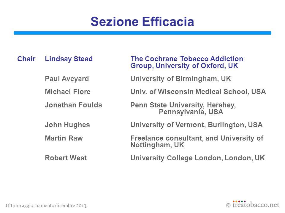 Ultimo aggiornamento dicembre 2013  Sezione Efficacia ChairLindsay SteadThe Cochrane Tobacco Addiction Group, University of Oxford, UK Paul AveyardUn