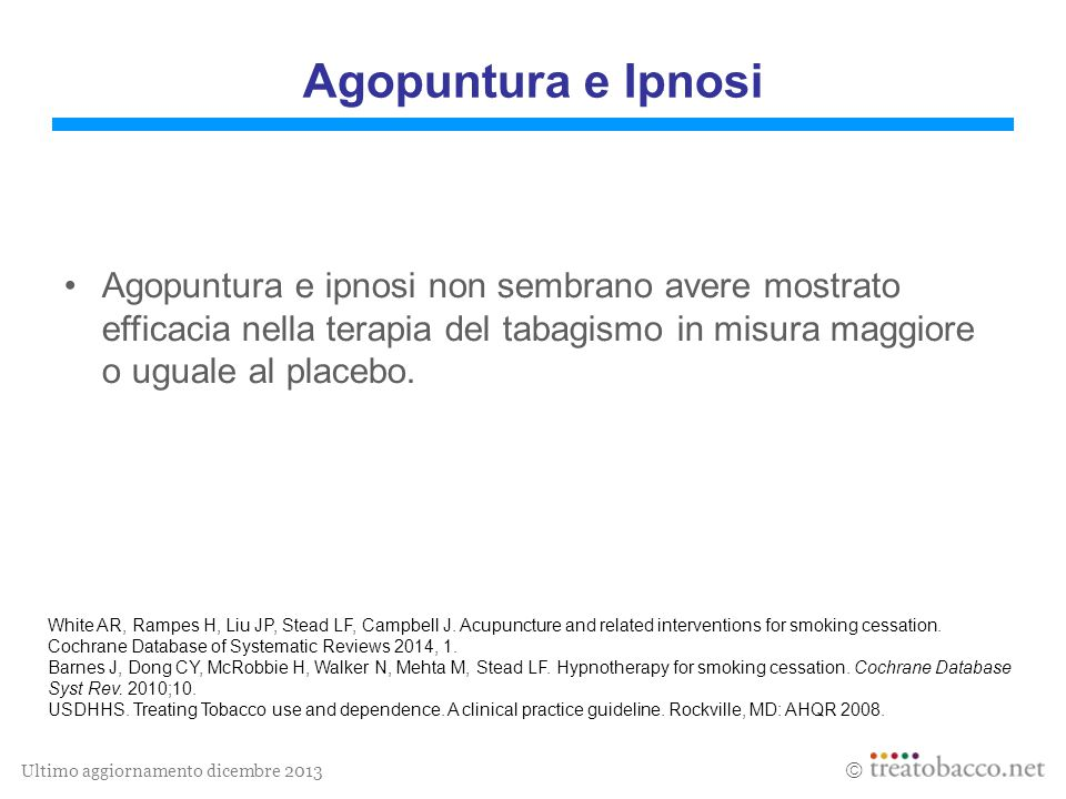 Ultimo aggiornamento dicembre 2013  White AR, Rampes H, Liu JP, Stead LF, Campbell J. Acupuncture and related interventions for smoking cessation. Co