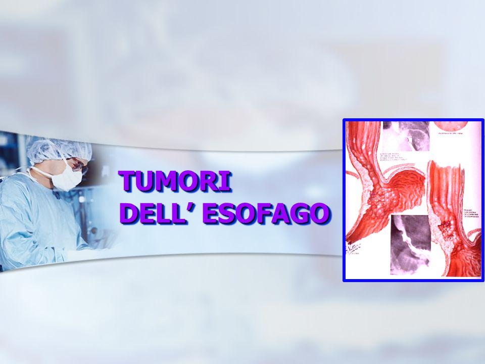 Diagnosi Esofagoscopia (con biopsie multiple) Diagnosi precoce, screening Lesione vegetante e protrudente nel lume Lesione vegetante e ulcerata