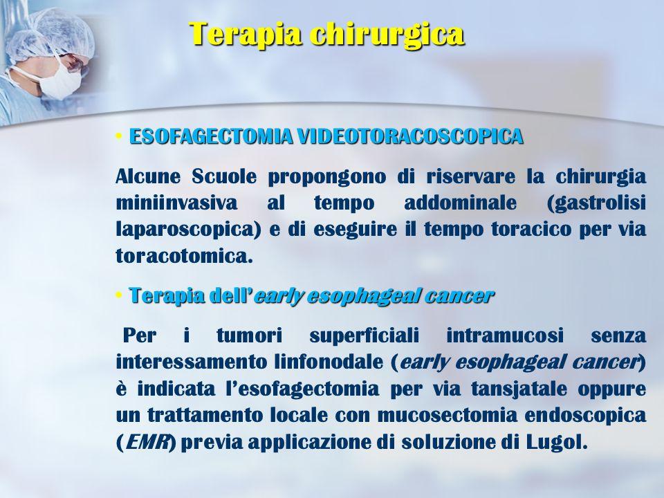 ESOFAGECTOMIA VIDEOTORACOSCOPICA Alcune Scuole propongono di riservare la chirurgia miniinvasiva al tempo addominale (gastrolisi laparoscopica) e di eseguire il tempo toracico per via toracotomica.