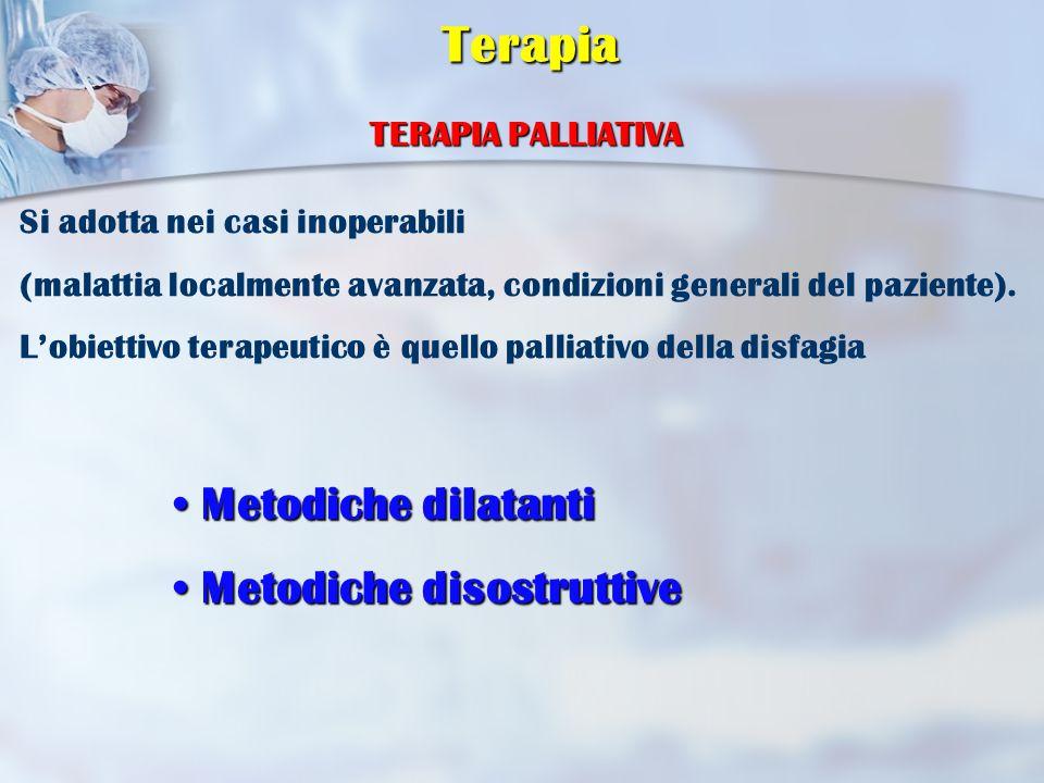 TERAPIA PALLIATIVA Metodiche dilatanti Metodiche dilatanti Metodiche disostruttive Metodiche disostruttive Si adotta nei casi inoperabili (malattia localmente avanzata, condizioni generali del paziente).