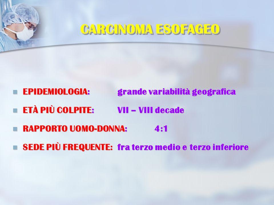 Classificazione microscopica Due sono gli istotipi più frequenti: Carcinoma squamoso Carcinoma squamoso Adenocarcinoma Adenocarcinoma quest'ultimo rappresenta oltre l 80% dei tumori insorti su esofago di Barrett