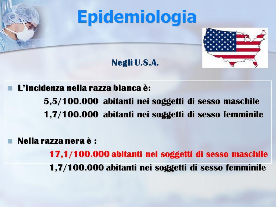 Epidemiologia Costituisce il 3% di tutte le neoplasie nei maschi Costituisce il 3% di tutte le neoplasie nei maschi l'1% di tutte le neoplasie nelle femmine l'1% di tutte le neoplasie nelle femmine L'incidenza annua è compresa tra il 3-5/100000 con un rapporto M:F pari a 6:1 L'incidenza annua è compresa tra il 3-5/100000 con un rapporto M:F pari a 6:1 Nel Friuli-Venezia-Giulia l'incidenza è elevata (5/100.000 abitanti).