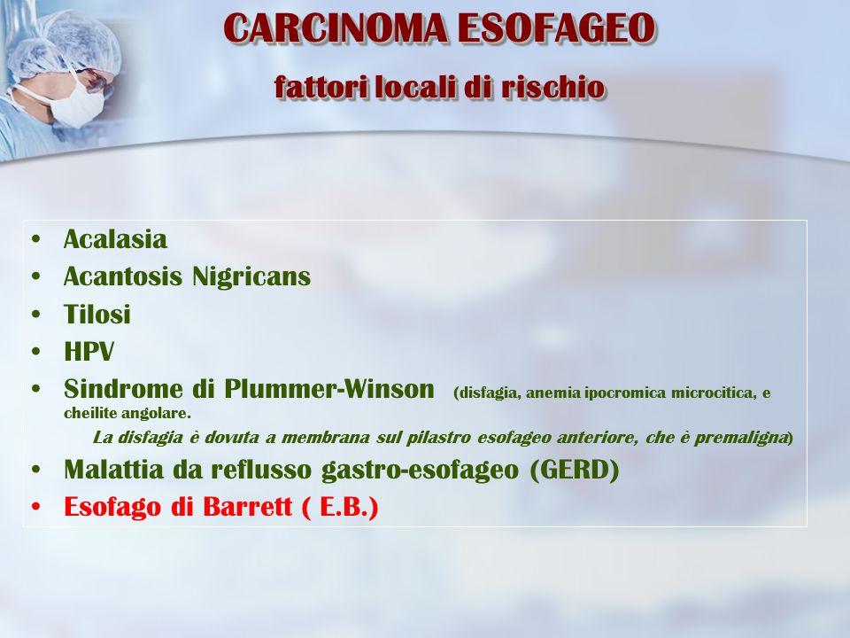 Diagnosi  Clinica  Rx Digerente prime vie (con Bario) Valuta la sede, l'estensione della neoplasia e il grado di stenosi del lume esofageo.