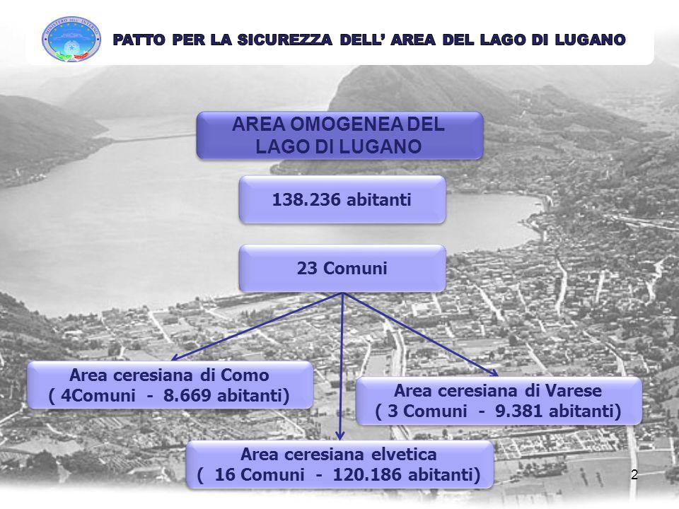AREA OMOGENEA DEL LAGO DI LUGANO 138.236 abitanti Area ceresiana di Como ( 4Comuni - 8.669 abitanti) Area ceresiana di Como ( 4Comuni - 8.669 abitanti