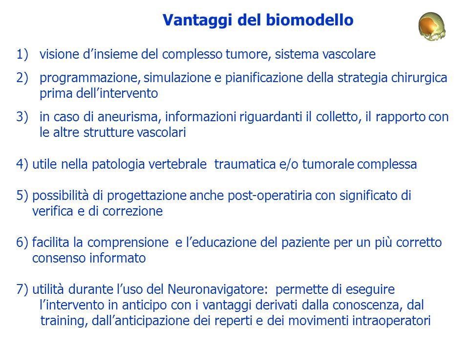 Vantaggi del biomodello 1)visione d'insieme del complesso tumore, sistema vascolare 2)programmazione, simulazione e pianificazione della strategia chi