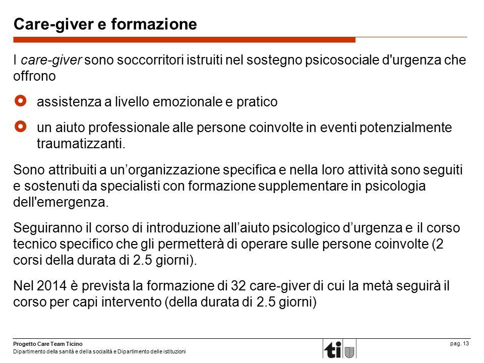 Progetto Care Team Ticino Dipartimento della sanità e della socialità e Dipartimento delle istituzioni pag. 13 Care-giver e formazione I care-giver so