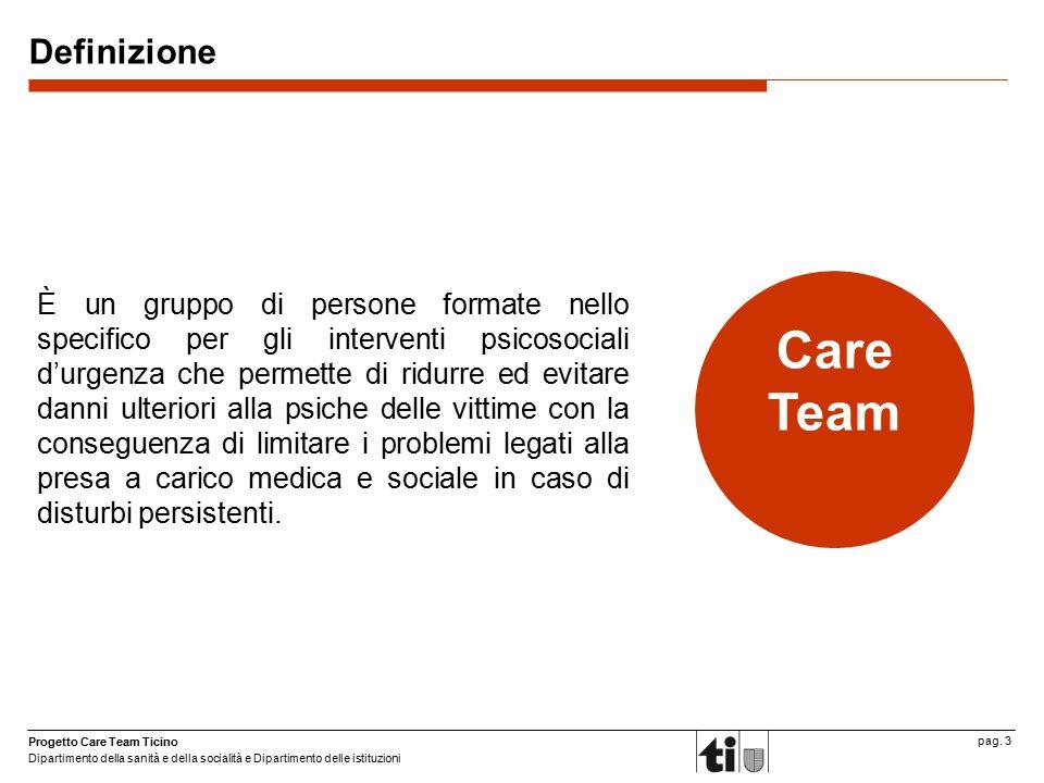 Progetto Care Team Ticino Dipartimento della sanità e della socialità e Dipartimento delle istituzioni pag. 3 Definizione È un gruppo di persone forma