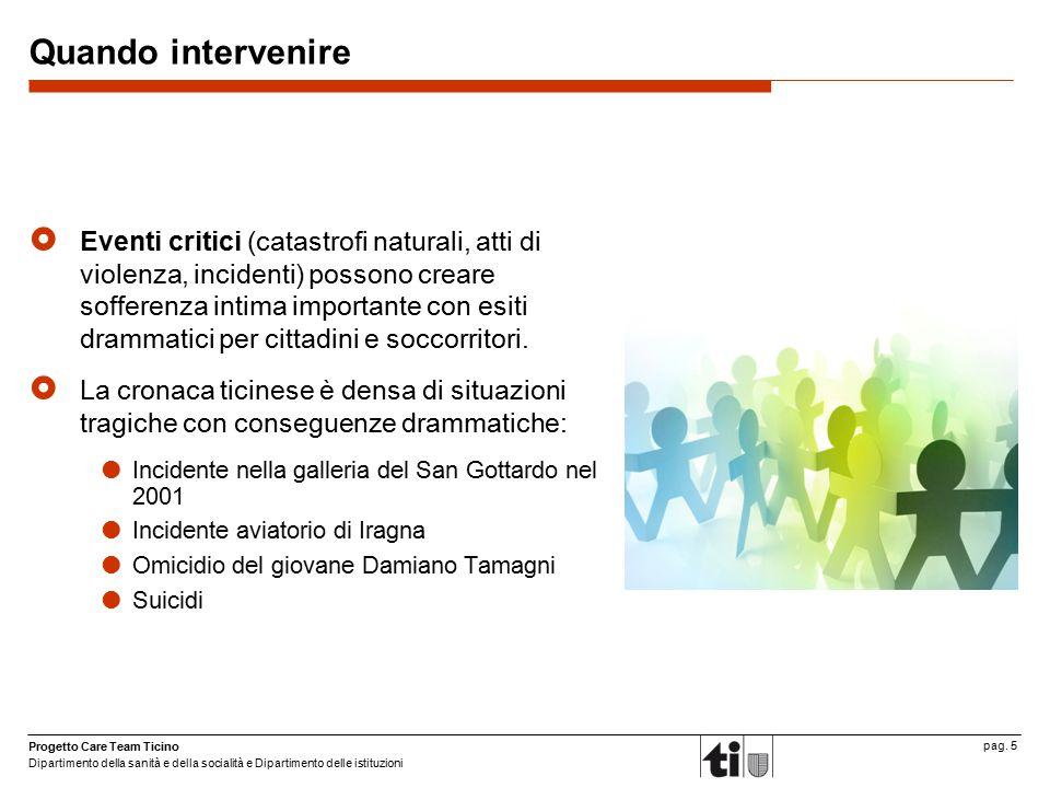 Progetto Care Team Ticino Dipartimento della sanità e della socialità e Dipartimento delle istituzioni pag. 5 Quando intervenire  Eventi critici (cat