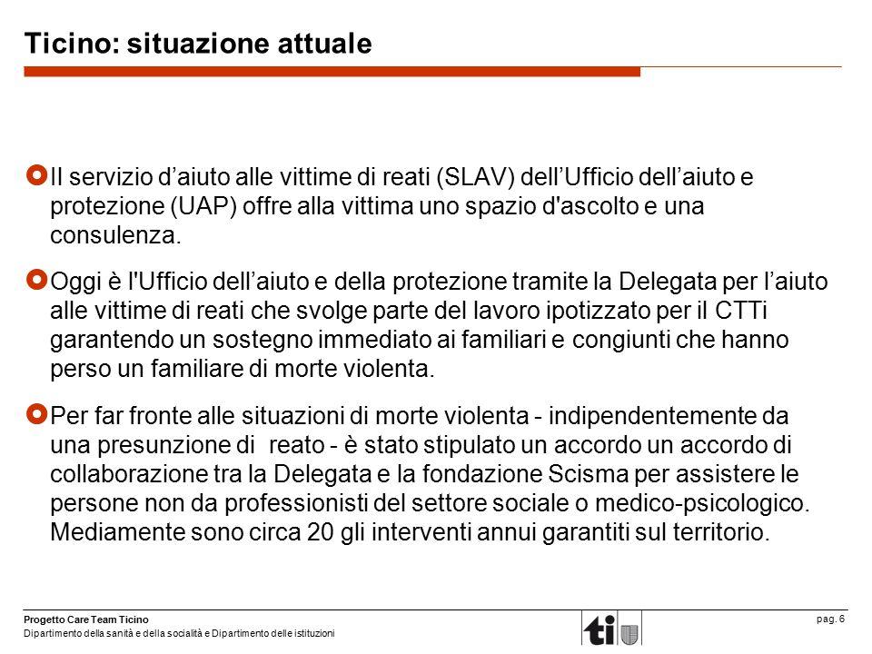 Progetto Care Team Ticino Dipartimento della sanità e della socialità e Dipartimento delle istituzioni pag. 6 Ticino: situazione attuale  Il servizio