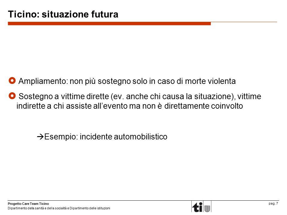 Progetto Care Team Ticino Dipartimento della sanità e della socialità e Dipartimento delle istituzioni pag. 7 Ticino: situazione futura  Ampliamento:
