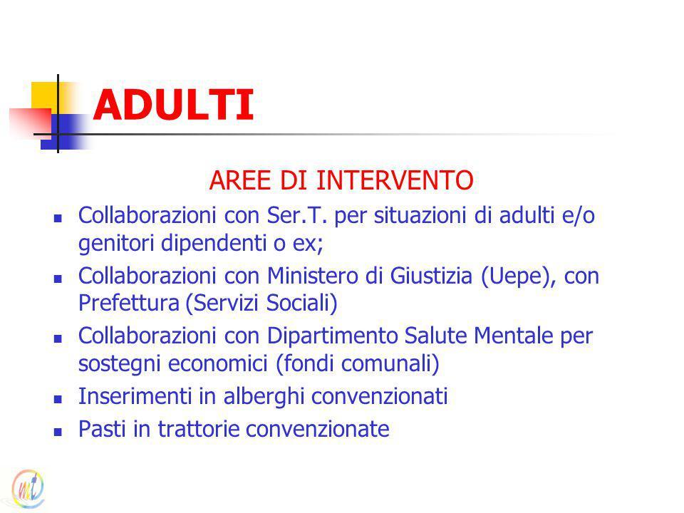 ADULTI AREE DI INTERVENTO Collaborazioni con Ser.T. per situazioni di adulti e/o genitori dipendenti o ex; Collaborazioni con Ministero di Giustizia (