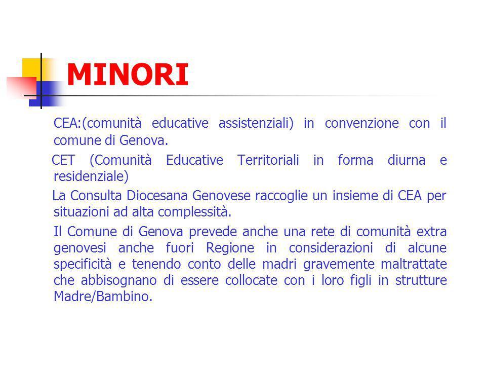 MINORI CEA:(comunità educative assistenziali) in convenzione con il comune di Genova. CET (Comunità Educative Territoriali in forma diurna e residenzi