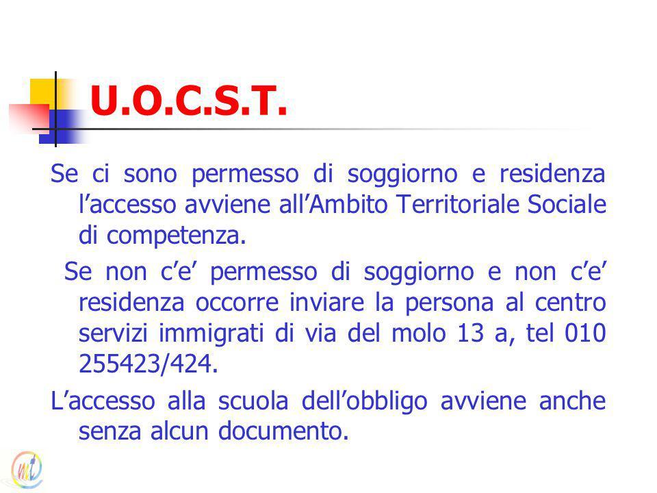 U.O.C.S.T. Se ci sono permesso di soggiorno e residenza l'accesso avviene all'Ambito Territoriale Sociale di competenza. Se non c'e' permesso di soggi